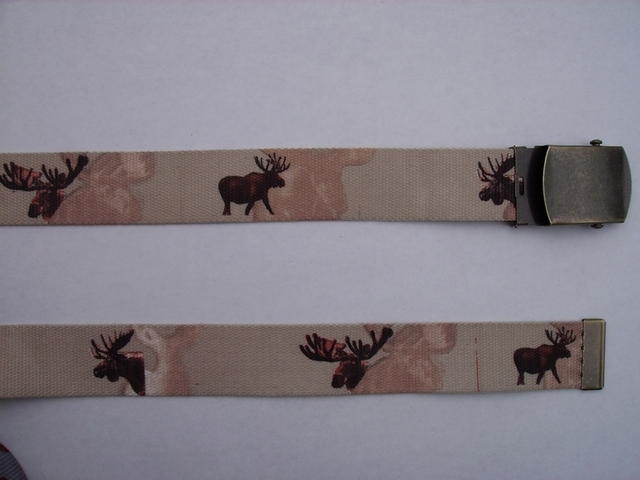 "MOOSE - High Quality U.S. Made Cotton/Polyester Non-Stretching Material with Solid Belt Buckle. These will fit  all size waists from 8"" up to 48""  by un-clamping Buckle and cutting off extra material on non-metal end. Then just re-clamp Material.      BELT-UA220N48MSKH"