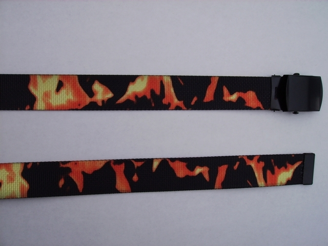 "SMOKE AND RED FLAMES -  High Quality U.S. Made Cotton/Polyester Non-Stretching Material with Solid Belt Buckle. These will fit  all size waists from 8"" up to 48""  by un-clamping Buckle and cutting off extra material on non-metal end. Then just re-clamp Material.       BELT-UA220N48SFRD"