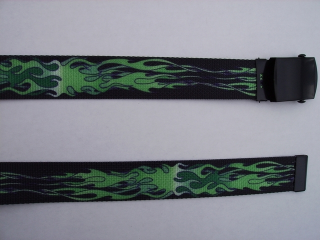 "FLAMES GREEN  - High Quality U.S. Made Cotton/Polyester Non-Stretching Material with Solid Belt Buckle. These will fit  all size waists from 8"" up to 48""  by un-clamping Buckle and cutting off extra material on non-metal end. Then just re-clamp Material.     BELT-UA220N48FLGN"
