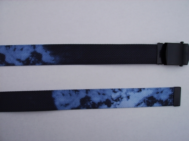 "SMOKE BLUE BELT - High Quality U.S. Made Cotton/Polyester Non-Stretching Material with Solid Belt Buckle. These will fit  all size waists from 8"" up to 48""  by un-clamping Buckle and cutting off extra material on non-metal end. Then just re-clamp Material.      UA220N48SMBL"