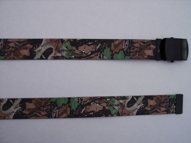 "LICENSED CAMOUFLAGE ADVANTAGE - High Quality U.S. Made Cotton/Polyester Non-Stretching Material with Solid Belt Buckle. These will fit  all size waists from 8"" up to 48""  by un-clamping Buckle and cutting off extra material on non-metal end. Then just re-clamp Material.         BELT-UA250K48ADVA"