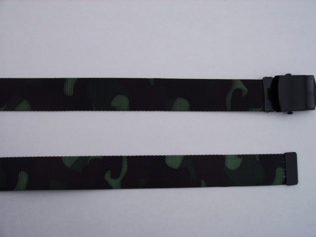 "WOODLAND CAMOUFLAGE -  High Quality U.S. Made Cotton/Polyester Non-Stretching Material with Solid Belt Buckle. These will fit  all size waists from 8"" up to 48""  by un-clamping Buckle and cutting off extra material on non-metal end. Then just re-clamp Material.      BELT-UB250K48WOOD"