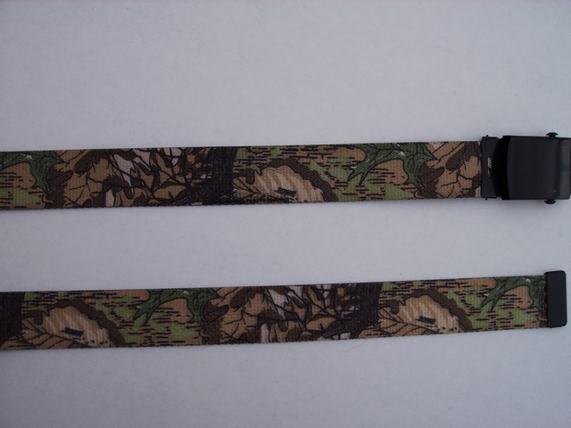 "LICENSED CAMOUFLAGE IMAGE - High Quality U.S. Made Cotton/Polyester Non-Stretching Material with Solid Belt Buckle. These will fit  all size waists from 8"" up to 48""  by un-clamping Buckle and cutting off extra material on non-metal end. Then just re-clamp Material.      BELT-UA250K48IMAG"