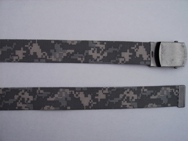 "CAMOFLAGE - High Quality U.S. Made Cotton/Polyester Non-Stretching Material with Solid Belt Buckle. These will fit  all size waists from 8"" up to 48""  by un-clamping Buckle and cutting off extra material on non-metal end. Then just re-clamp Material.      BELT-UC260N48DGDE"