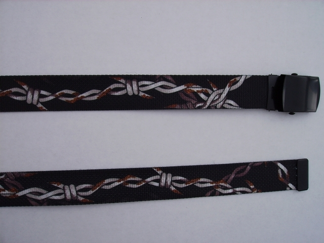 "RUSTED BARBWIRE -  High Quality U.S. Made Cotton/Polyester Non-Stretching Material with Solid Belt Buckle. These will fit  all size waists from 8"" up to 48""  by un-clamping Buckle and cutting off extra material on non-metal end. Then just re-clamp Material.     BELT-UA220N48BWRU"