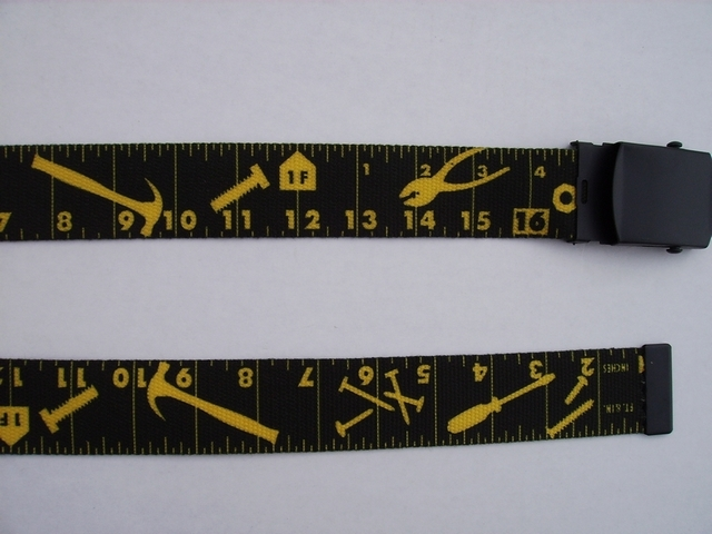 "HANDTOOLS GOLD COLOR ON BLACK. PLIERS, SCREWDRIVERS, BOLTS AND SCREWS BELT - High Quality U.S. Made Cotton/Polyester Non-Stretching Material with Solid Belt Buckle. These will fit  all size waists from 8"" up to 48""  by un-clamping Buckle and cutting off extra material on non-metal end. Then just re-clamp Material.      UA220N48HTBK"