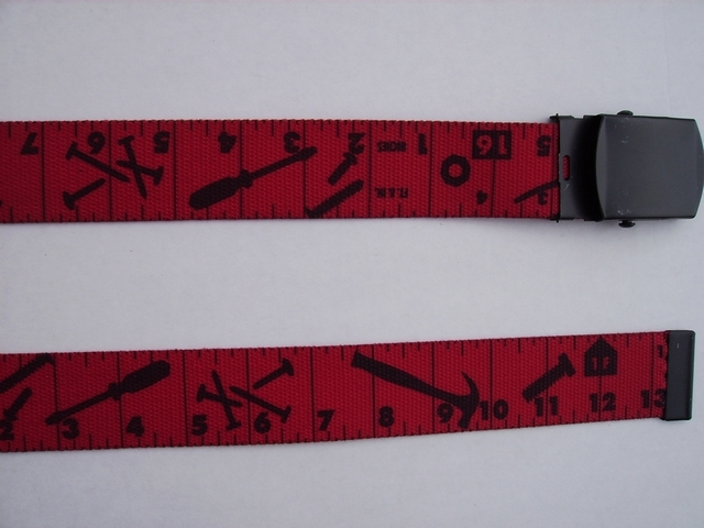 "TAPE MEASURE  Red with Black. - High Quality U.S. Made Cotton/Polyester Non-Stretching Material with Solid Belt Buckle. These will fit  all size waists from 8"" up to 48""  by un-clamping Buckle and cutting off extra material on non-metal end. Then just re-clamp Material.       BELT-UA250N48TMRE"