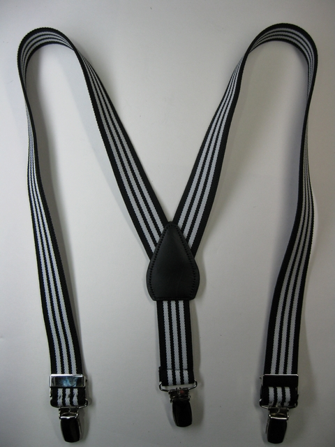 "BLACK, WHITE, BLACK""Y"" Style 1"" wide x 30"" long.  Entirely Stretchable Suspenders With Real Leather Patch, to fit Children 2 to 5 yrs old - adjusts for 2' 9"" to 3' 8"" Child's Height. Has 3 Strong 1/2""x 1"" High Polished CHROME CLIPS with Nylon Teeth and has 2 adjusters in front.    PC460N30BWB"