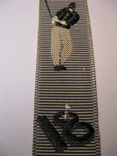 "GOLF DESIGN WITH DARK GREEN AND GOLD ON BEIGE BACKGROUND ""Y"" STYLE 1 1/3"" X 48"" DELUXE SUSPENDERS.WITH GOLD GRIPS AND 2 LENGTH ADUSTERS    YD-GGO76B48#102g"