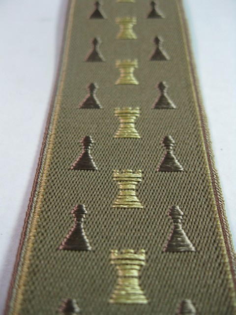 """1 1/2"""" wide. """"Y"""" Style. Assorted SIZES from 5' 1"""" to  7' 4"""" Height. (42"""" to 60"""" long Straps) Deluxe Suspenders-Cotton/Polyester Hand Washable-Hang To Dry Material With Gold Grips And Adjusters. Chess Pieces- Gold Rooks, Brown Pawns On Dark Tan Background With Gold Edges.    Y-CHS76B-#110"""
