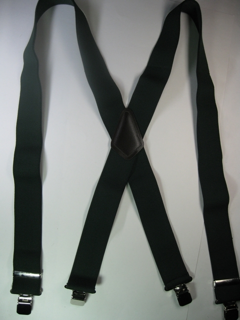 "1 1/2"" wide. Assorted SIZES to fit 5' 1"" to 7' 5""  Heavy Duty Industrial Suspenders. All Straps are stretchable Cotton/Polyester Hand Washable-Hang to Dry Material with Genuine Leather Patch and Four Stainless Steel  Industrial Grips 1.09""x 1.96"" including heavy duty bracket and has two strong Length Adjusters.     X-PB450N-A3C"