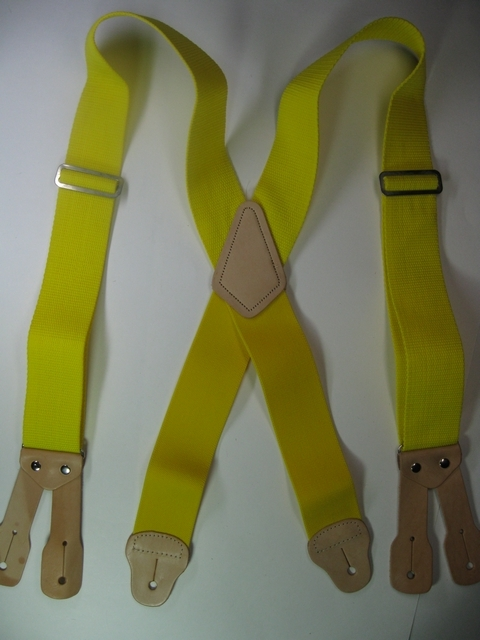 BUTTON ON CONSTRUCTION BASICS YELLOW Suspenders 2 inches long 48 inches long. Non elastic except Industrial Strength below X pattern on back two Leather attachments.   YA150N48YELL