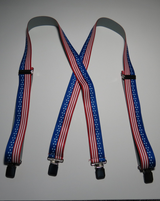 "1 1/2"" ""X"" Style. STARS AND STRIPES Assorted Sizes.   Suspenders that fit People 5' 1"" to 6' 7"" tall. NO Leather Back Patch. All Straps are stretchable Cotton/Polyester Hand Washable-Hang to Dry Material with  4 Strong 1""x 1""  Stainless Steel Grips and 2 Stainless Steel Length Adjusters in the Front.   UB220N-US#2-A1B"
