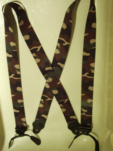 BUTTON-ON DESERT CAMOFLAGE Suspenders 2 inches wide and 48 inches long. Light Tan, Medium Tan, Dark Tan Color. UA120N48DESE