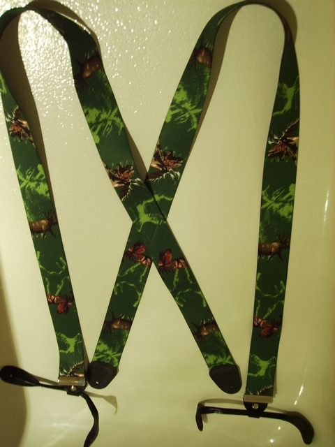 BUTTON-ON MOOSE Suspenders 1 1/2 inches wide and 48 inches long. Green Color. UB120N48MSGN