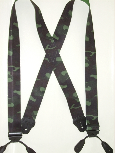 BUTTON-ON WOODLAND Suspenders 2 inches wide and 48 inches long.Black and Dark Green. UA120N48WOOD