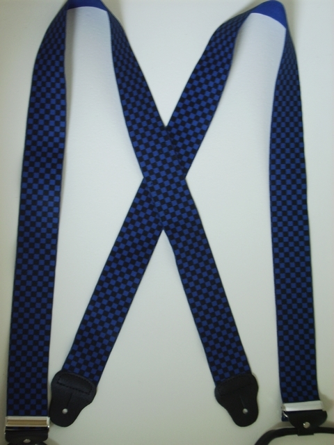 BUTTON-ON CHECKERS BLACK AND BLUE Suspenders 2 inches wide and 48 inches long UA120N48CKBL