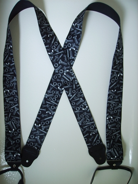 BUTTON-ON NUTS AND BOLTS Suspenders 2 inches wide and 48 inches long. Black Color. UA120N48NBBK