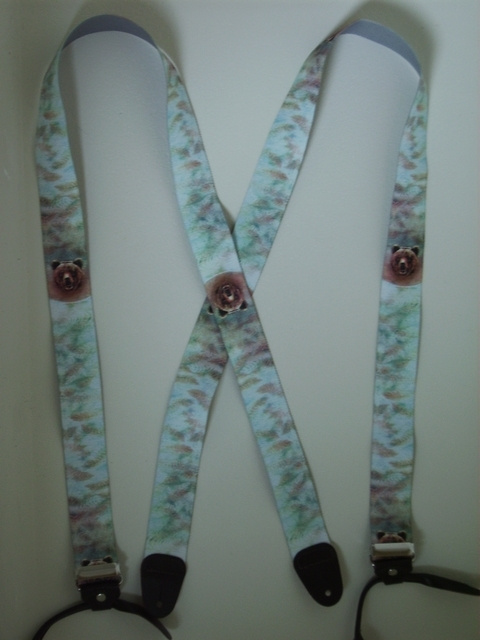 "BUTTON-ON WILDLIFE BEAR Suspenders 1 1/2"" wide and 48"" long UB120N48WLBR"