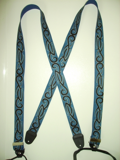 BUTTON-ON TRIBAL BLACK ON BLUE Suspenders 1 1/ 2 inches wide and 48 inches long UB120N48TBNA