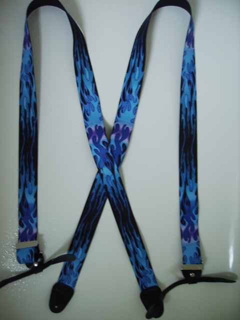 BUTTON-ON FLAMES BLUE ON BLACK Suspenders 1 1/2 inches wide and 48 inches long UB120N48FLBL