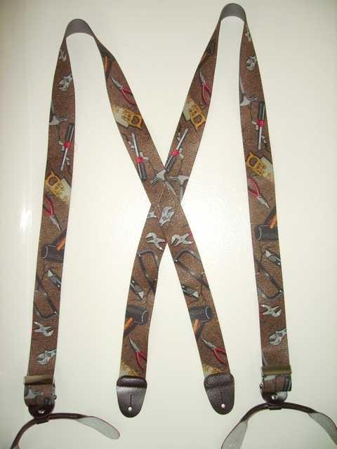 BUTTON-ON HAND TOOLS BROWN COLOR Suspenders 1 1/2 inches wide and 48 inches long UB120N48HTBR