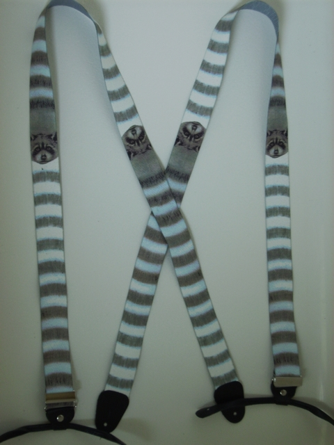 "BUTTON-ON WILDLIFE RACCOON Suspenders 1 1/2"" wide and 48"" long.        UB120N48WLRC"