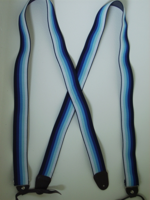 "BUTTON-ON BLACK, NAVY BLUE, POWDER BLUE, LIGHTY BLUE, AND IVORY STRIPES.1 1/2""X 48"" Suspenders PB120N48NAOM"
