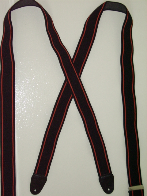 """BUTTON-ON HARLEY COLORS BLACK  WITH TWO ORANGE PINSTRIPES  1 1/2"""" X 48"""" Long TB120N48BLOR"""