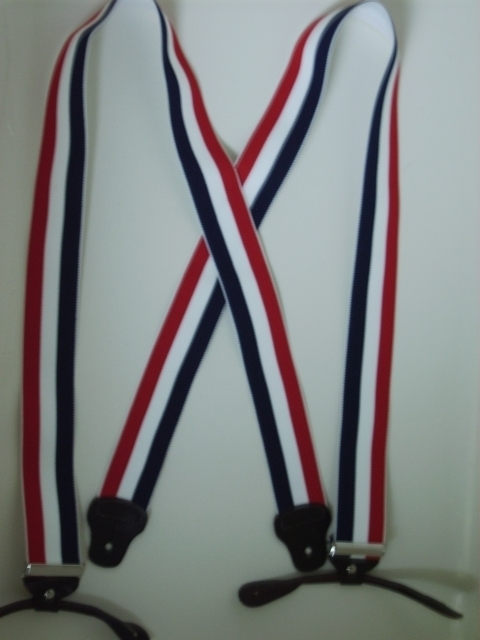 "1 1/2"" & 2"" wide. ""X"" Style. BUTTON-ON.  Choose from Assorted SIZES from 5' 1"" to  6' 2"" Height. (42"" to 48"" long Straps).  Red, White and Blue Stripes. Cotton/Polyester, hand washable-hang to dry Suspenders with Straps that are stretchable for entire length of the material  with Genuine Leather ends and 2 Chrome Adjusters.      X-UA/B120N-RWN"