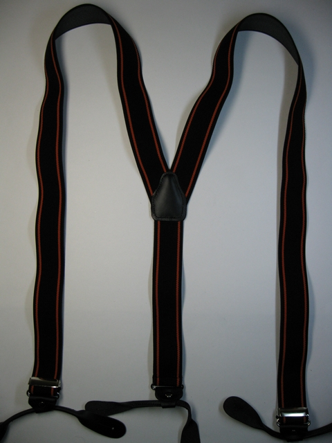 "HARLEY COLORS. ORANGE STRIPES ON BLACK.Button-On2""x 48"" ""Y"" STYLE LEATHER ENDS SUSPENDERS.YB-PA130N48BLOR"