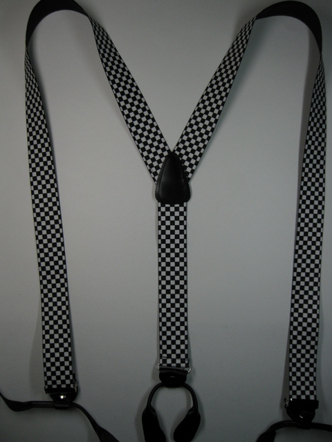 "CHECKERS BLACK AND WHITE Button On. 1 1/2""x 54"" ""Y"" STYLE LEATHER ENDS SUSPENDERS.  YB- PB130N54CHEC"