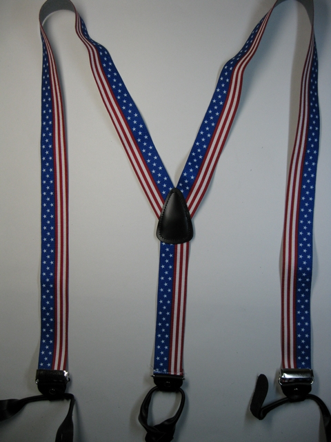 "2"" wide Y Style. STARS AND STRIPES SUSPENDERS. Choose Your Size.Button On.           Y-UA190N-US#2"