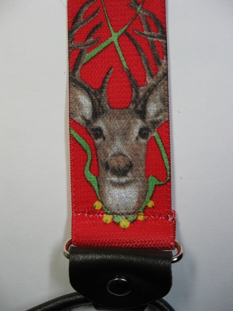 "WILDLIFE DEER RED BACKGROUND Button On. 1 1/2""x 48"" Suspenders        UB130N48WLD2"