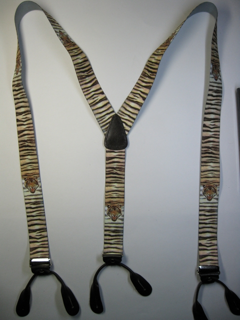 "WILDLIFE TIGER  Button On.1 1/2""x 48"" ""Y""  Style  Leather Ends. Entirely Stretchable Hand Washable and Hang to Dry Cotton/Polyester Material.           YB-PB130N48WLTG"