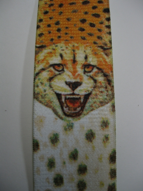 "WILDLIFE CHEETA  Button On.1 1/2""x 48"" ""Y""  Style  Leather Ends. Entirely Stretchable Hand Washable and Hang to Dry Cotton/Polyester Material.               YB-PB130N48WLCH"