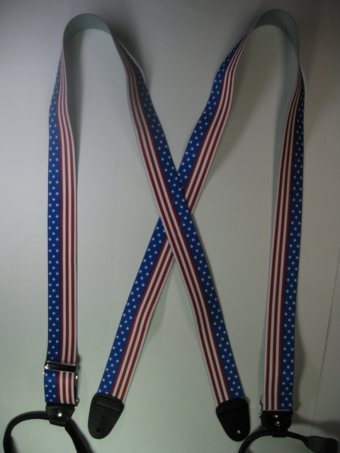 "2"" wide.""X"" Style. BUTTON-ON U.S. STARS AND STRIPES Suspenders.  SIZES from 5' 1"" to 6' 2"" Height. (42"" to 48"" long Straps). Cotton/Polyester, hand washable-hang to dry Suspenders with Straps that are stretchable for entire length of the material  with Genuine Leather ends and 2 Chrome Adjusters.   X-UA120N-US#2"