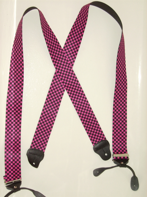 "BUTTON-ONCHECKERS BLACK AND HOT PINK 2""x 48"" Suspenders UA120N48CKHP"