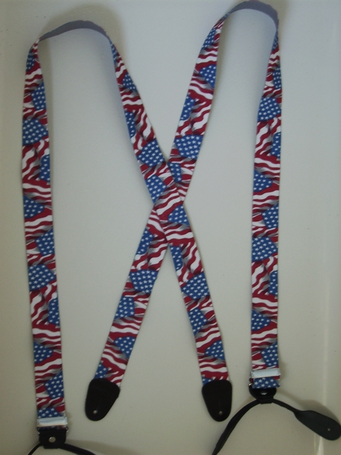 BUTTON-ON WAVING FLAG Suspenders 1 1/2 inches wide and 48 inches long. Red White and Blue UB120N48US#1