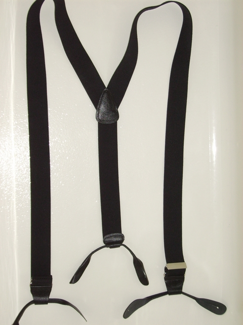 "BLACK ""Y"" STYLE FRENCH SATIN FINISH. FANCY OCCASION DRESSUP Button On.1 1/2""x 48"" Suspenders   CHROME adjusters, genuine Leather Patch  and Attachments..        Y-SB190N48BLAC"