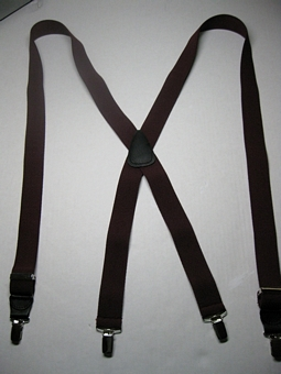 "1 1/4"" wide. ""X"" Style. Assorted SIZES from 5' 1"" to  7' 5"" Height. (42"" to 66"" long Straps) Entirely Stretchable Cotton/Polyester Suspenders with 4 High Polish GOLD Grips with Strong Gripping Nylon Teeth and 2 Secure GOLD Length Adjusters. Hand Washable-Hang to Dry Material   X-PF400B-D3B"