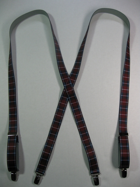 "BURGANDY PLAID PATTERN 3/4""x 48""   Suspenders with 4 strong 1/2""x 1"" Grips with nylon Teeth and 2 Length Adjusters in the front, all in high polish CHROME FINISH.  Entirely Stretchable Hand Washable and Hang to Dry Cotton/Polyester Material.                  UD760N48PBUR"