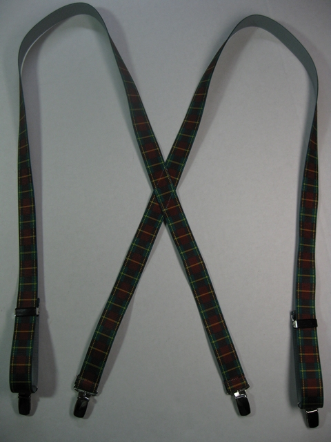 "1"" wide X Style BURGANDY PLAID PATTERN.  Choose Your Size.      Suspenders with 4 strong CHROME or GOLD 1/2""x 1"" Clips with nylon Teeth and 2 CHROME or GOLD Length Adjusters in the front.  Entirely Stretchable Hand Washable and Hang to Dry Cotton/Polyester Material.        X- UC260-PBUR"