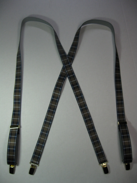 "BROWN PLAID PATTERN 1""x 48""   Suspenders with 4 strong 1/2""x 1"" Grips with nylon Teeth and 2 Length Adjusters in the front, all in high polish CHROME FINISH.  Entirely Stretchable Hand Washable and Hang to Dry Cotton/Polyester Material.                 UC260N48PBRO"