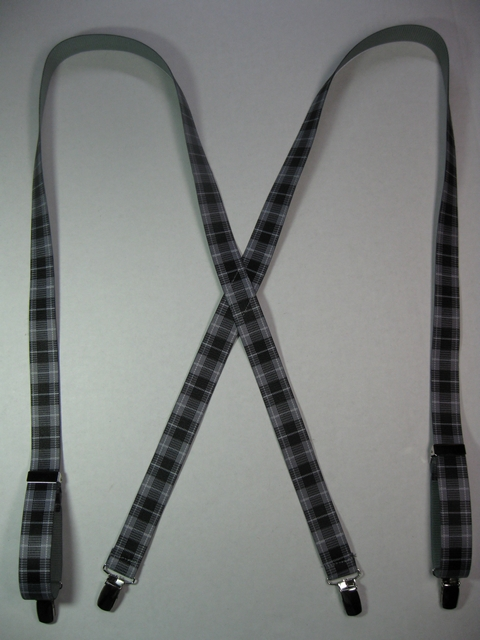"3/4"" Wide. X Style GREY PLAID PATTERN with CHROME or GOLD Hardware. Choose 30"" to 48"" long. Suspenders with 4 strong CHROME or GOLD 1/2""x 1"" Clips with nylon Teeth and 2 Length Adjusters in the front.  Entirely Stretchable Hand Washable and Hang to Dry Cotton/Polyester Material.     X-UD760-PGRE"