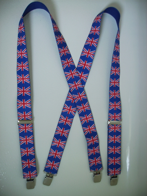 "UNITED KINGDOM 1 1/2""X48"" Suspenders with 4 strong 1""x 1"" Grips and 2 Length Adjusters in the front, all in Stainless Steel. Entirely Stretchable Hand Washable and Hang to Dry Cotton/Polyester Material.          UB220N48UK#1"