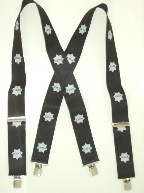 "POLICE 2""X48""  Suspenders with 4 strong 1""X1"" Grips and 2 Length Adjusters in the front, all in STAINLESS STEEL FINISH.   Entirely Stretchable Cotton/Polyester Material.         UA220N48POLI"