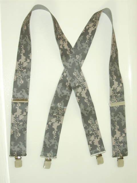 "ARMY CAMOUFLAGE Suspenders 1 1/2"" wide and 48""long. Dark Green, Lighter Green and Tan.With 2 Length Adjusters And 4 Grips. Entirely Stretchable Hand Washable and Hang to Dry Cotton/Polyester Material.            UB220N48DGAR"
