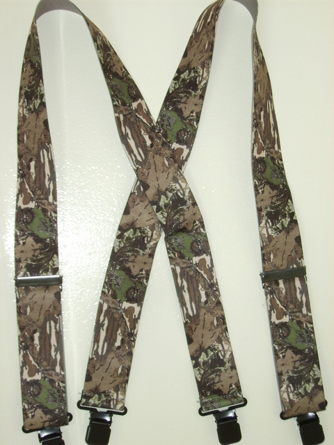 "LIICENSED CAMOUFLAGE IMAGE Suspenders 1 1/2"" wide and 48"" longWith 2 Length Adjusters And 4 Grips. High Stainless Steel GRIPS and Two Secure Stainless Steel Adjusters.  Entirely Stretchable Hand Washable and Hang to Dry Cotton/Polyester Material.           UB220N48IMAG"