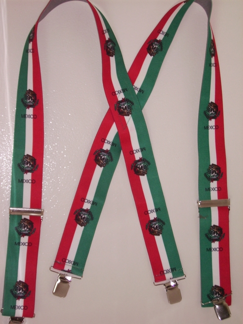 "MEXICO FLAG  2""X48"" Suspenders with 4 strong 1""x 1"" Grips and 2 Length Adjusters in the front, all in Stainless Steel. Entirely Stretchable Hand Washable and Hang to Dry Cotton/Polyester Material.                   UA220N48MX#1"